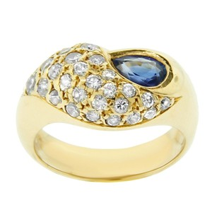 Other Estate 18k Yellow Gold Diamond And Sapphire Wave Ring