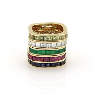 Estate 18k Yellow Gold Diamond Multi Color Gemstone Band Stackable Ring Set