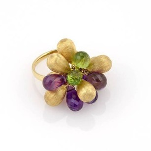 Estate 18k Yellow Gold Italian Amethyst Peridot Briolette Cocktail Ring