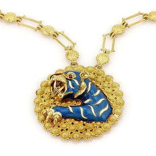 Estate 18k Yellow Gold Italian Ruby Enamel Tiger Pendant Necklace