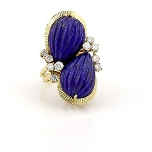 Other Estate 18k Yellow Gold Lapis And 1.10ct Diamond Cocktail Ring-size 6.75