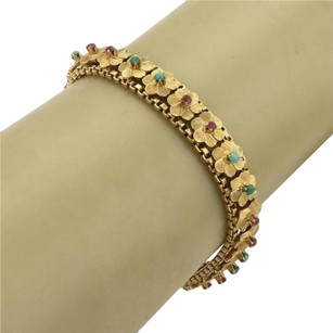 Other Estate 18k Yellow Gold Multi-gems Floral Link Bracelet