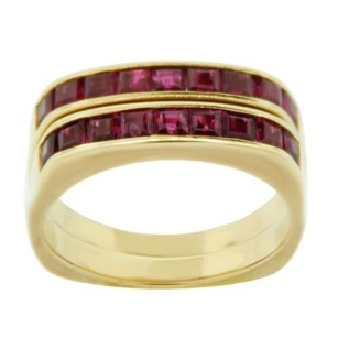Other Estate 18k Yellow Gold Red Stone Double Ring
