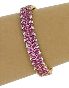 Estate 18k Ygold 61.12ctw Diamond Oval Pink Sapphire Tennis Bracelet
