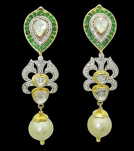 Estate 22k Gold Apx. Tcw Diamond Emerald Golden Pearl Drop Earrings E225