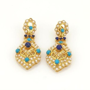 Estate 22k Gold Turquoise Lapis Seed Pearls Mughal Drop Dangle Earrings