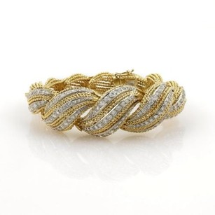 Estate 2ct Diamonds 18k Two Tone Gold Twisted Rope Design Bracelet