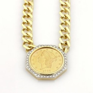 Estate 2ct Diamonds Liberty Coin Pendant 18k Gold Chain Necklace 151 Grams
