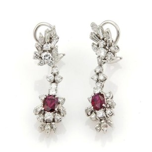 Other Estate 4.50ct Diamonds Rubies Platinum 14k White Gold Drop Dangle Earrings