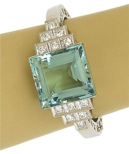 Other Estate 62ct Aquamarine Diamonds Platinum Hinged Bangle Bracelet