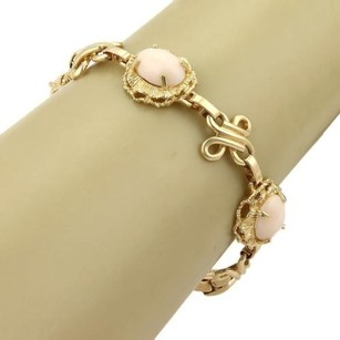 Other Estate Angel Skin Coral 14k Yellow Gold Fancy Design Bracelet