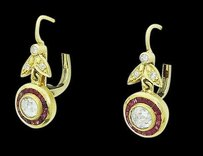 Estate Antique 18k Gold Tcw Rose Cut Diamond Ruby Dangle Earrings 7.3ge254