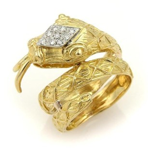 Estate Diamond Coiled Snake 10mm Wide Wrap 18k Yellow Gold Ring -