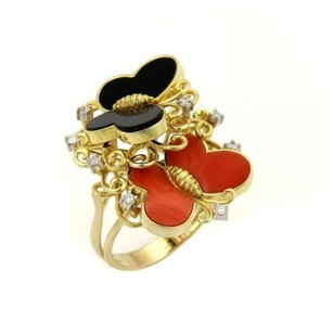 Other Estate Diamonds Coral Onyx 14k Yellow Gold Butterfly Cocktail Ring