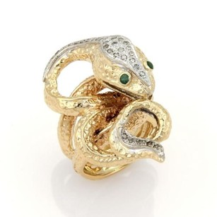 Estate Diamonds Emerald 14k Two Tone Coiled Snake Ring -size