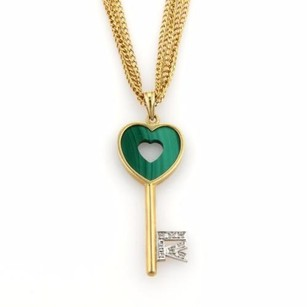 Other Estate Diamonds Malachite Heart Key Pendant Multi-strand Necklace