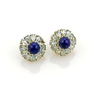 Other Estate Lapis 10.08ct Aquamarine Diamond 18k Yellow Gold Post Clip Earrings