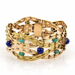Estate Lapis Turquoise 18k Yellow Gold 1.25 Wide Woven Bracelet