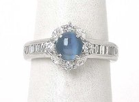 Estate Platinum 1.84ctw Diamond Oval Cabochon Blue Cats Eye Ladies Ring