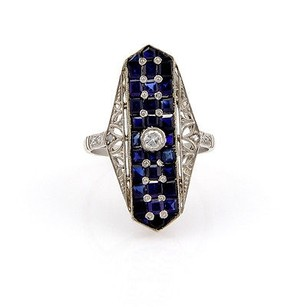 Other Estate Platinum Art Deco Diamond Sapphire Filigree Ring