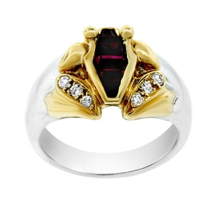 Other Estate Platinum With 18k Yellow Gold Diamond And Ruby Ring