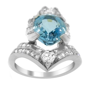 Other Estate Platinum With 23 Diamonds And Floating Aquamarine Ring