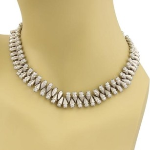 Estate Solid Platinum 7ct Diamonds Double Side Cone Links Choker Necklace