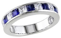 2 38 Ct Tgw White Sapphire Blue Sapphire Fashion Ring In Sterling Silver