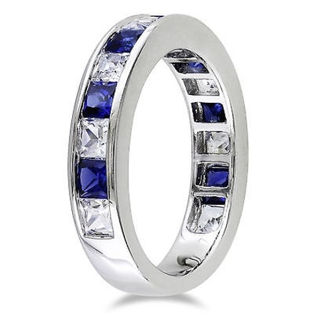 Other 2 38 Ct Tgw White Sapphire Blue Sapphire Fashion Ring In Sterling Silver