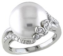 0.05 Ct Diamond 12 - 12.5 Mm White Freshwater Pearl Fashion Ring Silver Gh I3