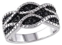 Other Sterling Silver 14 Ct Tw Black Diamond Fashion Braided Ring