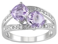 Sterling Silver Diamond And 2 Ct Tgw Rose De France Fashion Ring Gh I3