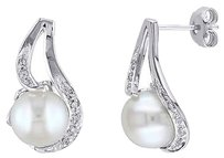 Silver 9 - 10 Mm Freshwater Aaa Pearl Accent Diamond Earrings 0.06 Ct G-h I2-i3