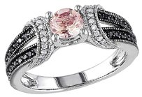 Other Sterling Silver 14 Ct Black White Diamond 12 Ct Morganite Ring Gh I2-i3