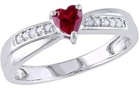 Other Sterling Silver 13 Ct Ruby And Diamond Heart Love Crossover Engagement Ring