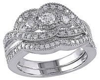 Sterling Silver 12 Ct Diamond Tw Bridal Set Geometric Ring Gh I2-i3