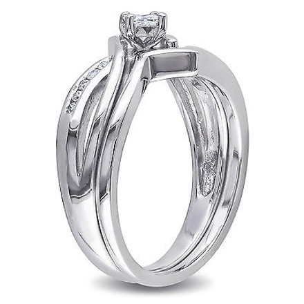 Other Sterling Silver 14 Ct Princess And Round Diamonds Tw Bridal Set Ring Gh I2-i3