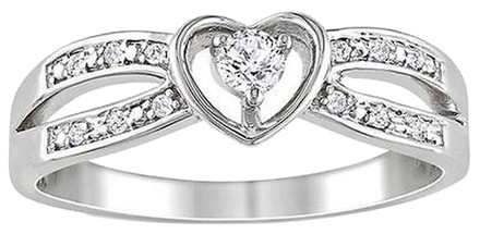 Other Sterling Silver White Sapphire And Diamond Heart Love Promise Ring