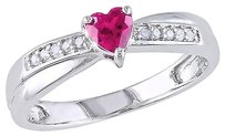 Sterling Silver 13 Ct Pink Sapphire And Diamond Heart Crossover Engagement Ring