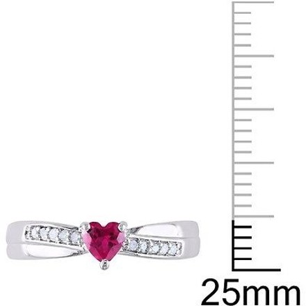 Other Sterling Silver 13 Ct Pink Sapphire And Diamond Heart Crossover Engagement Ring