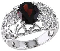 Other Sterling Silver Diamond 2 78 Ct Garnet Heart Love Connecting Web Ring Gh I3