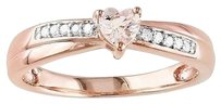 Sterling Silver 13 Ct Pink Morganite Diamond Heart Crossover Engagement Ring