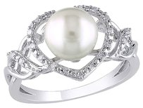 Other 110 Ct Diamond 8 - 8.5 Mm White Freshwater Pearl Fashion Ring Silver Gh I2i3