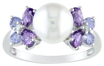 Other Silver 8-8.5 Mm Freshwater Pearl Amethyst Tanzanite Cluster Diamond Ring .99 Ct
