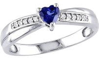Sterling Silver 13 Ct Blue Sapphire Diamond Heart Crossover Engagement Ring
