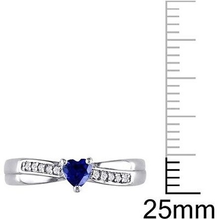 Other Sterling Silver 13 Ct Blue Sapphire Diamond Heart Crossover Engagement Ring