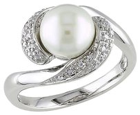 110 Ct Diamond 8 - 8.5 Mm White Freshwater Pearl Fashion Ring Silver Gh I3