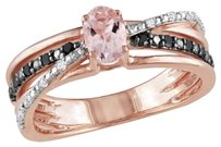 Pink Silver Morganite With Black White Diamond Crossover Two-tone Ring 0.14 Ct