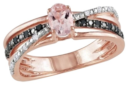 Other Pink Silver Morganite With Black White Diamond Crossover Two-tone Ring 0.14 Ct