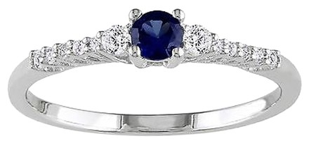 Other Sterling Silver Blue Sapphire And Diamond Engagement Ring 0.38 Ct G-h I2-i3 925